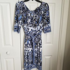 Tahari S 1 Vibrant Blue Paisley Sheath dress